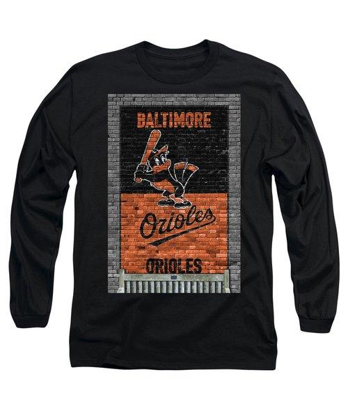 Baltimore Orioles Brick Wall Long Sleeve T-Shirt by Joe Hamilton