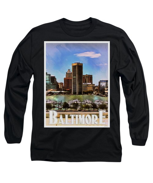 Long Sleeve T-Shirt featuring the painting Baltimore Skyline by Kai Saarto