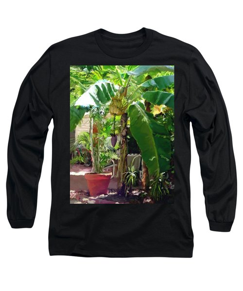 Long Sleeve T-Shirt featuring the painting Banana Tree by David  Van Hulst