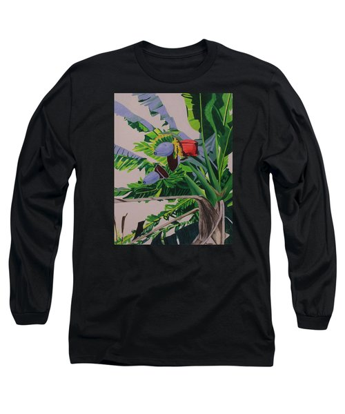Long Sleeve T-Shirt featuring the painting Bananas by Hilda and Jose Garrancho