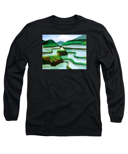 Long Sleeve T-Shirt featuring the painting Banaue by Cyril Maza