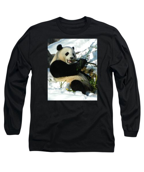 Bao Bao Sittin' In The Snow Taking A Bite Out Of Bamboo2 Long Sleeve T-Shirt