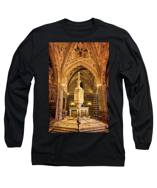 Long Sleeve T-Shirt featuring the photograph Baptistery Siena Italy by Joan Carroll
