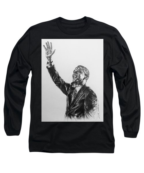 Long Sleeve T-Shirt featuring the painting Barack Obama by Darryl Matthews