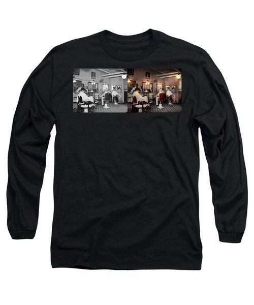 Long Sleeve T-Shirt featuring the photograph Barber - Senators-only Barbershop 1937 - Side By Side by Mike Savad