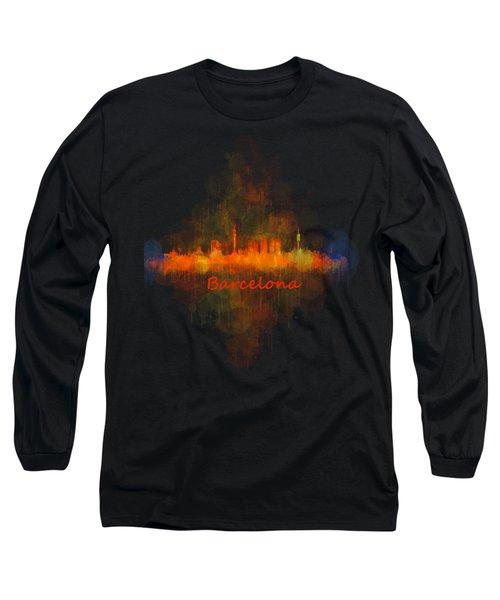 Barcelona City Skyline Uhq _v4 Long Sleeve T-Shirt by HQ Photo