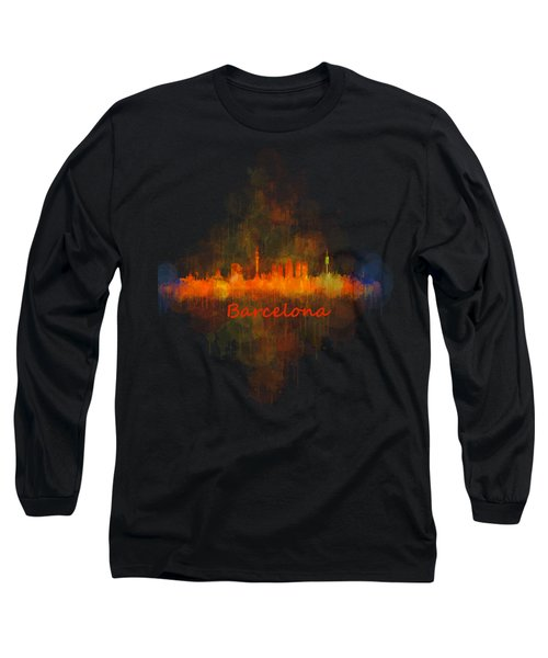 Barcelona City Skyline Uhq _v4 Long Sleeve T-Shirt