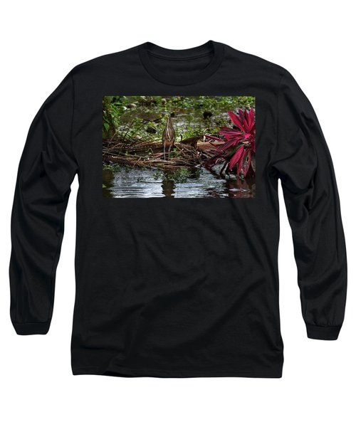 Bare-throated Tiger-heron Long Sleeve T-Shirt by James David Phenicie