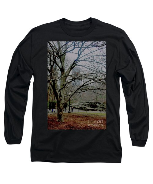 Bare Tree On Walking Path Long Sleeve T-Shirt by Sandy Moulder