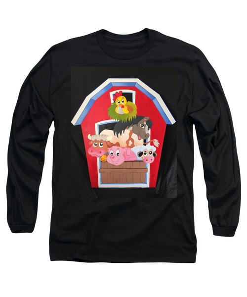 Barn With Animals Long Sleeve T-Shirt by Brenda Bonfield