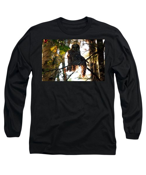 Barred Owl At Sunrise Long Sleeve T-Shirt