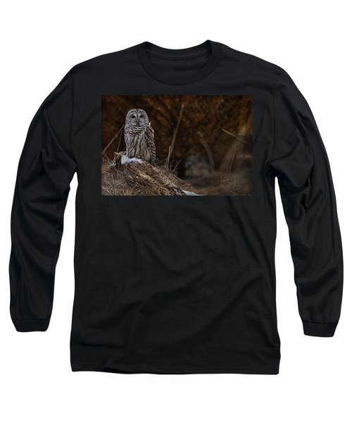 Long Sleeve T-Shirt featuring the photograph Barred Owl On Log by Michael Cummings