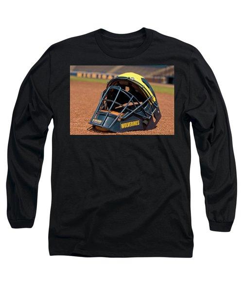 Baseball Catcher Helmet Long Sleeve T-Shirt