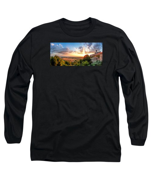 Basilica Of St. Francis Of Assisi At Sunset, Umbria, Italy Long Sleeve T-Shirt by JR Photography