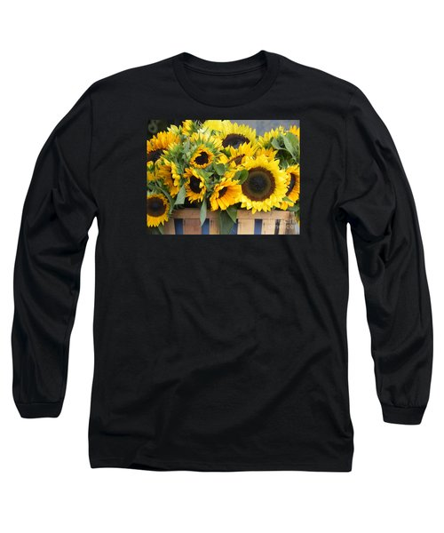 Long Sleeve T-Shirt featuring the photograph Basket Of Sunflowers by Chrisann Ellis