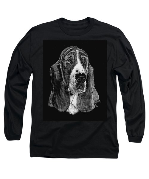 Long Sleeve T-Shirt featuring the drawing Basset Hound by Rachel Hames