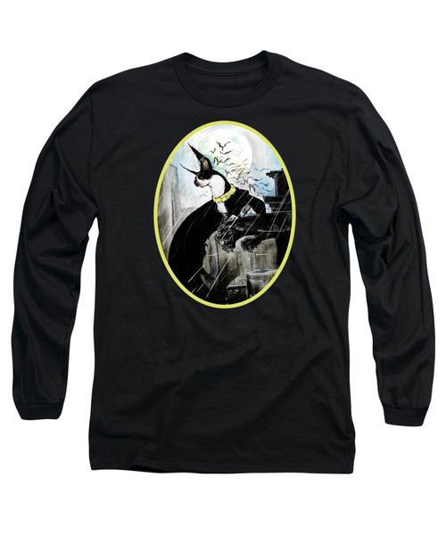 Batman Boston Terrier Caricature Art Print Long Sleeve T-Shirt