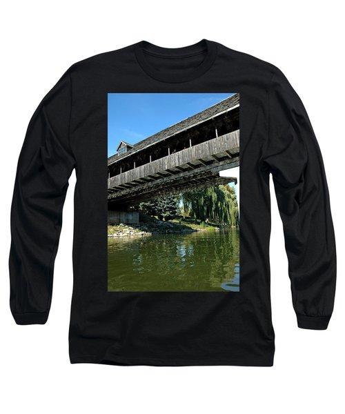 Long Sleeve T-Shirt featuring the photograph Bavarian Covered Bridge by LeeAnn McLaneGoetz McLaneGoetzStudioLLCcom