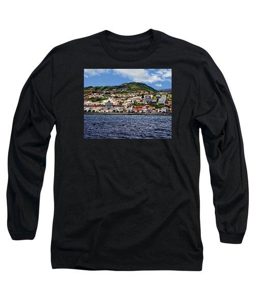 Bay Of Horta Long Sleeve T-Shirt by Anthony Dezenzio