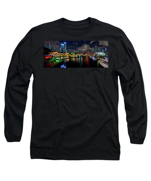 Bayside Miami Florida At Night Under The Stars Long Sleeve T-Shirt