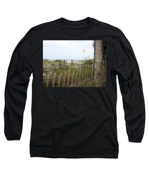 Beach Fence On Hunting Island Long Sleeve T-Shirt by Ellen Tully
