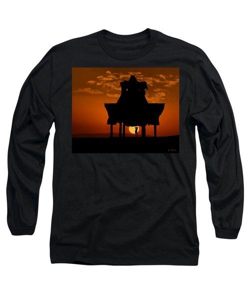 Long Sleeve T-Shirt featuring the photograph Beach Shelter At Sunset by Joe Bonita