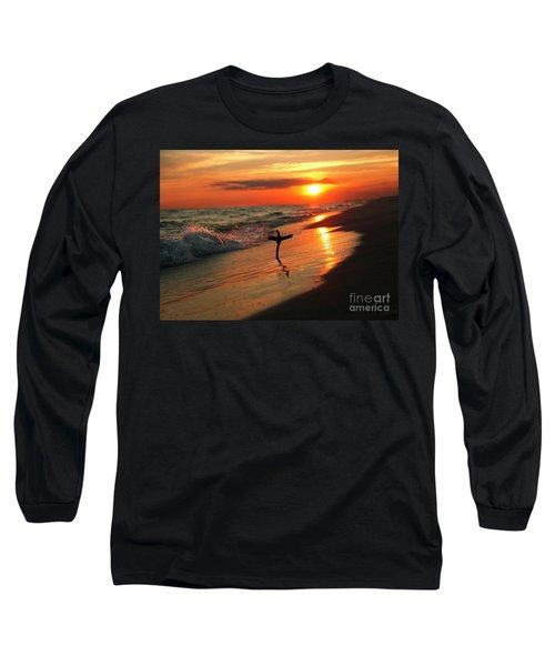 Beach Sunset And Cross Long Sleeve T-Shirt by Luana K Perez