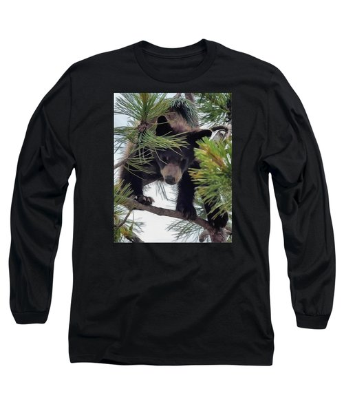 Bear Cub Playing In A Tree 2 Long Sleeve T-Shirt