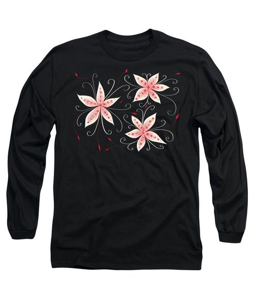 Beautiful Abstract White Red Flowers Long Sleeve T-Shirt