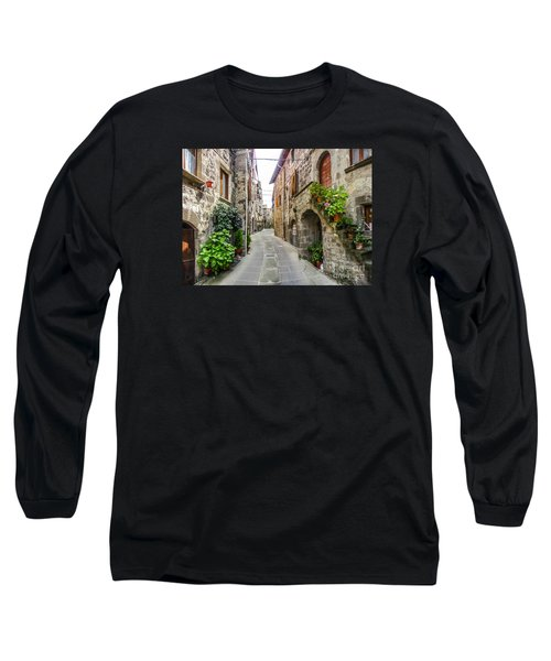 Beautiful Alleyway In The Historic Town Of Vitorchiano, Lazio, I Long Sleeve T-Shirt by JR Photography