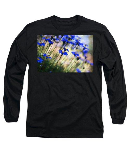 Beautiful Dancing Blue Flowers Romance Long Sleeve T-Shirt
