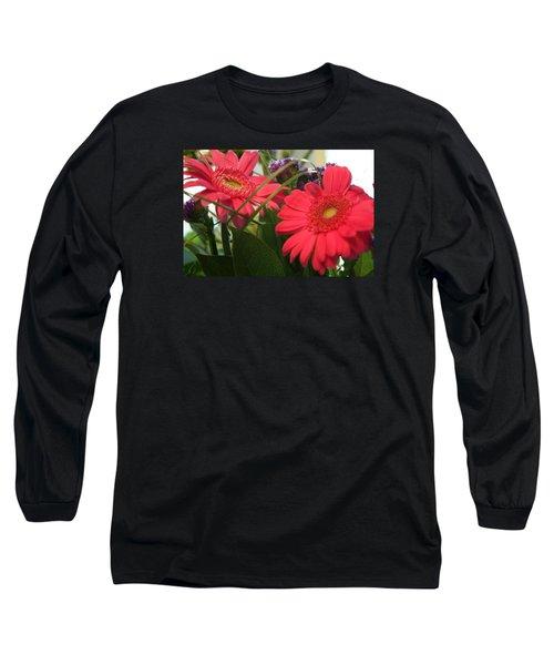 Beautiful Red Daisies Long Sleeve T-Shirt by Karen Nicholson