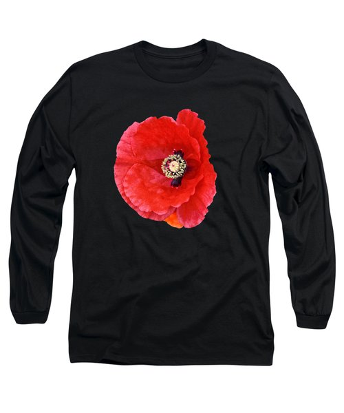 Long Sleeve T-Shirt featuring the photograph Beautiful Red Poppy Papaver Rhoeas by Marianne Campolongo