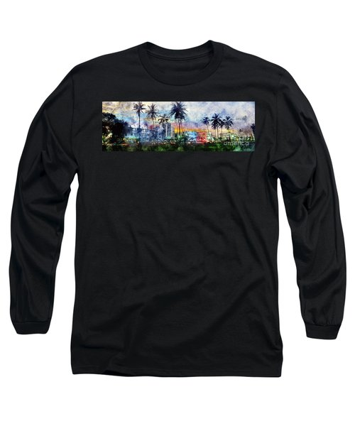 Beautiful South Beach Watercolor Long Sleeve T-Shirt by Jon Neidert