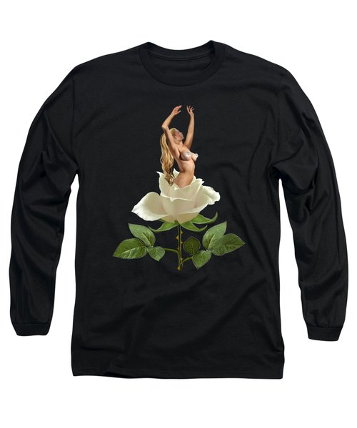 Beauty Of The White Rose Long Sleeve T-Shirt by Glenn Holbrook