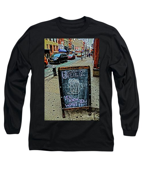 Long Sleeve T-Shirt featuring the photograph Beer Sign by Sandy Moulder