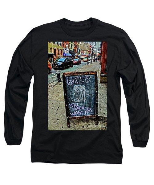 Beer Sign Long Sleeve T-Shirt by Sandy Moulder