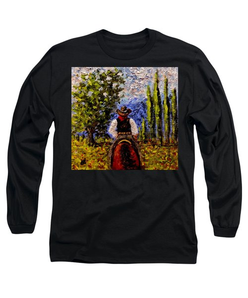 Long Sleeve T-Shirt featuring the painting Before The Sun Goes Down.. by Cristina Mihailescu
