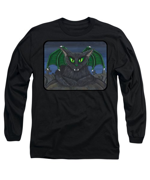 Long Sleeve T-Shirt featuring the painting Bela Vampire Cat by Carrie Hawks