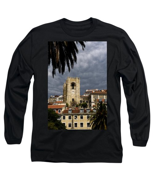 Long Sleeve T-Shirt featuring the photograph Bell Tower Against Roiling Sky by Lorraine Devon Wilke