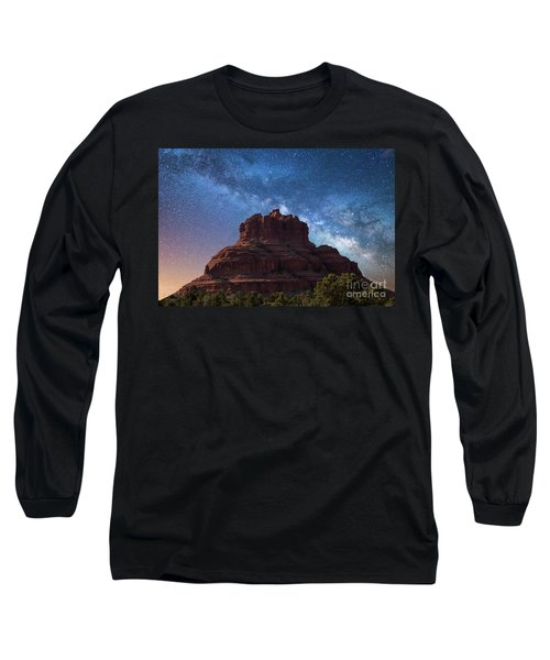 Below The Milky Way At Bell Rock Long Sleeve T-Shirt