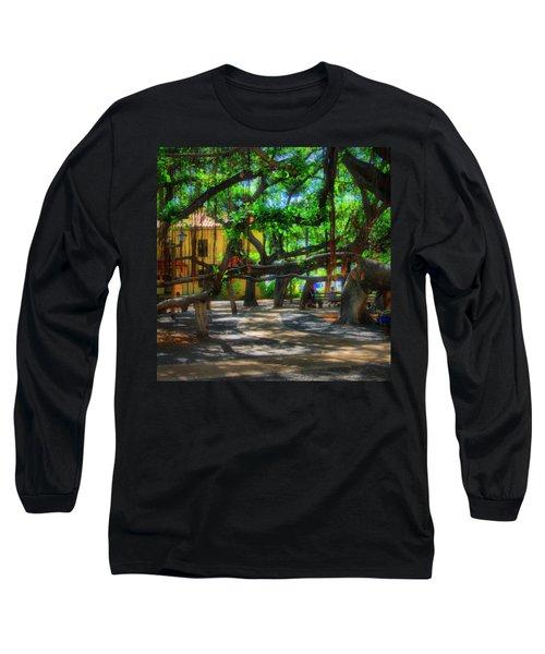 Beneath The Banyan Tree Long Sleeve T-Shirt by DJ Florek