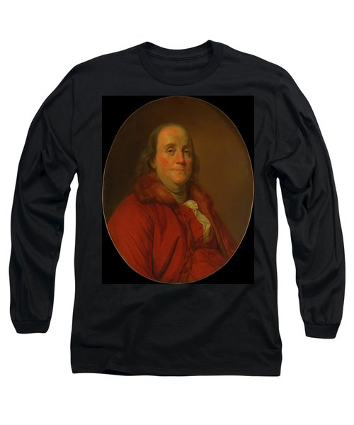 Long Sleeve T-Shirt featuring the painting Benjamin Franklin by Workshop Of Joseph Duplessis