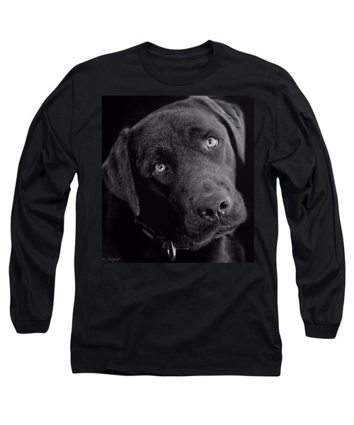 Long Sleeve T-Shirt featuring the photograph Benji In Black And White by Wallaroo Images
