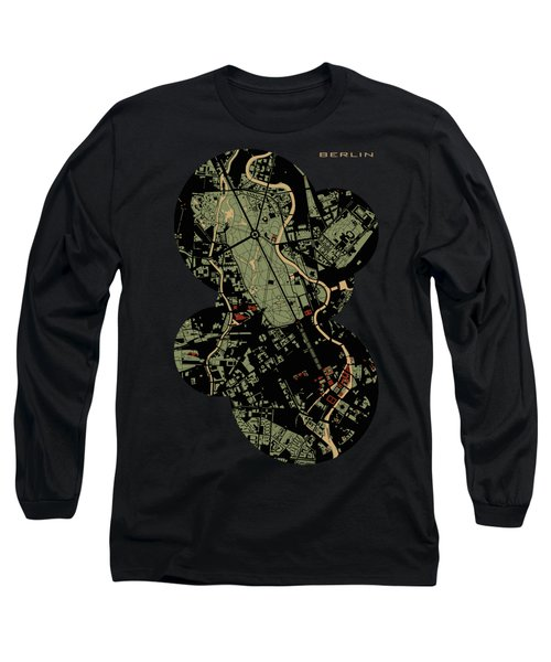 Berlin Engraving Map Long Sleeve T-Shirt by Jasone Ayerbe- Javier R Recco