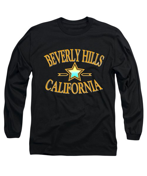 Beverly Hills California Star Design Long Sleeve T-Shirt