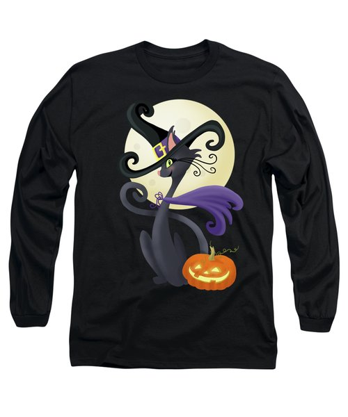 Bewitching Halloween Black Cat Long Sleeve T-Shirt