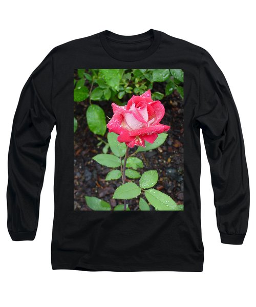 Bi-colored Rose In Rain Long Sleeve T-Shirt