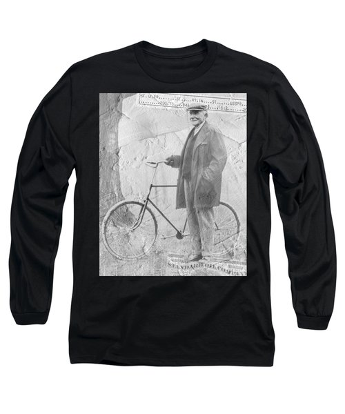 Bicycle And Jd Rockefeller Vintage Photo Art Long Sleeve T-Shirt