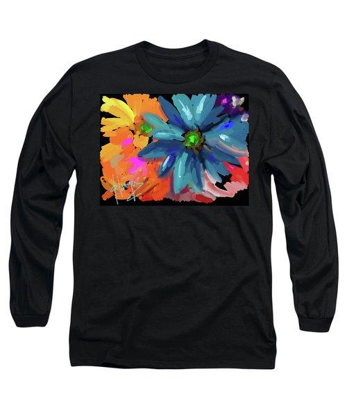 Big Blue Flower Long Sleeve T-Shirt by DC Langer